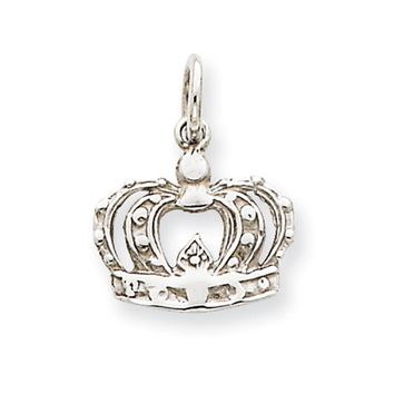 Children's 14k White Gold Crown Charm or Pendant, 12mm (7/16 inch)
