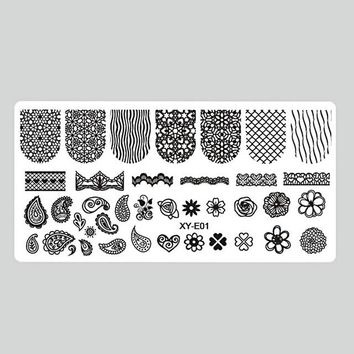 1Pc Flamingo/Fruit Nail Stamping Plates Fashion Hot Nail Art Stamp Stamping Template Image Plate Stencil Nails Tools LAXYE01-16