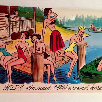 "Vintage HELP! We Need Men Around Here! 9"" X 6"" Retro Pin Up Post Card"