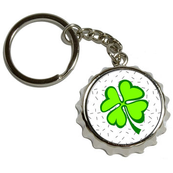 Lots of Luck - Lucky Irish Four Leaf Clover Pop Cap Bottle Opener Keychain