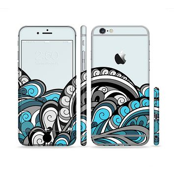 The Abstract Black & Blue Paisley Waves Sectioned Skin Series for the Apple iPhone 6