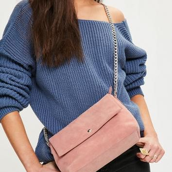 Missguided - Pink Faux Suede Chain Strap Cross Body Bag