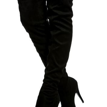 Black Faux Suede Platform Thigh High Boots @ Cicihot Boots Catalog:women's winter boots,leather thigh high boots,black platform knee high boots,over the knee boots,Go Go boots,cowgirl boots,gladiator boots,womens dress boots,skirt boots.