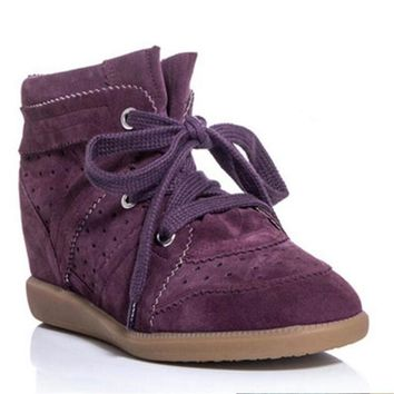 New 18 Colors Bobby Shoes Women Ankle Boots Genuine Suede Leather Women Casual Shoes Isabel Platform Boots Women Wedges Shoes