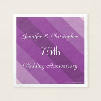Purple Striped Napkins, 75th Wedding Anniversary Napkin