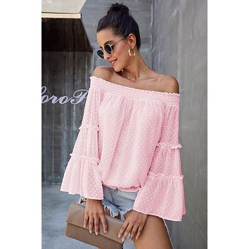 Pink Swiss Dot Off The Shoulder Bell Sleeve Blouse