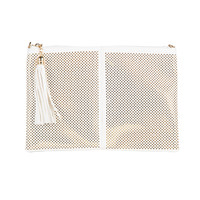 Diamond Cut Out Metallic Clutch - Ivory