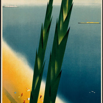 "c.1930s ""Vacation in Crimea! Seaside Beach Ocean"" Travel Poster-Antique-Old-Vintage Reproduction Photograph/Photo: Gicclee Print. Frame it!"