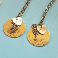 Customizable Necklace Set with Lock and Key charms - Couple Necklaces - Best Friend Necklace Set - Matching Necklaces