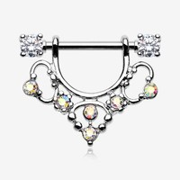 A Pair of Muilla Filigree Sparkle Dangle Nipple Shield Ring