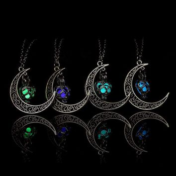Crescent Sailor Half Moon Glow In The Dark Pendant Necklace Women's Jewelry Gift