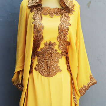 Fancy Yellow Caftan Dress With Fancy Gold Embroidery Great for Wedding Bridesmaid Party Summer Kaftan Maxi Hoodie Dress