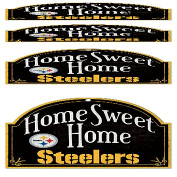 "PITTSBURGH STEELERS HOME SWEET HOME ARCHED WOOD SIGN 10""x11"" BRAND NEW WINCRAFT"