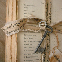 vintage french cottage Rustic Book Stack Vintage key and script ribbon rhinestone and tag Shabby chic decor