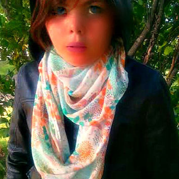 Fox and Peacocks Infinity Scarf,Soft Lightweight Year Round Scarf,Circle Loop Scarf,Winter Fall Spring Fashion,Direct Checkout,Ready 2 Ship
