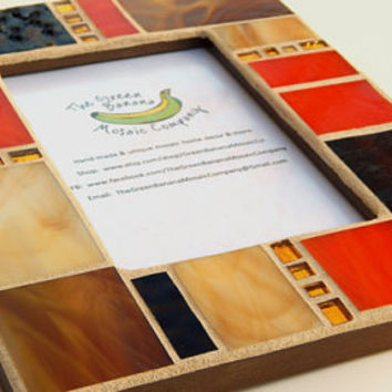 Mosaic Picture Frame, 4 x 6 Picture Frame, Shades of Brown + Bright Orange + Gold Mirror, Handmade Stained Glass Mosaic Design