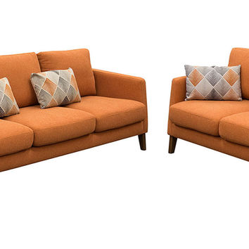 Keppel Solid Fabric Sofa & Loveseat 2Pc Set With Accent Pillow