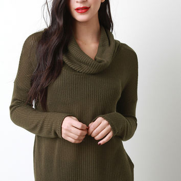 Loose Knit Cowl Neck Sweater Top