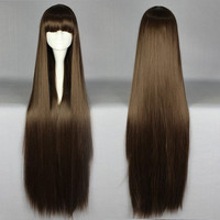 Sexy Fashion Heat Resistant Amagi Brilliant Park Kobori 100cm Brown long straight Cosplay Party women girls full hair wigs