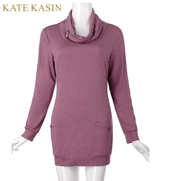 Kate Kasin Women Autumn Spring Hoodies Sweatshirts Warm Jumper Top Draped Neck Long Sleeve Pullover Hooded Tracksuit With Pocket