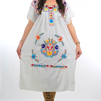 70s Boho Mexican embroidered floral Oaxacan dress