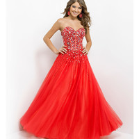 Pink by Blush 2014 Prom Dresses - Persimmon Strapless Beaded Long Prom Gown