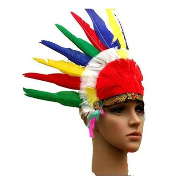 Halloween Carnival Colorful Feather Party Hats Headband Indian Style Headwear Villus Chiefs Cap Party Headdress