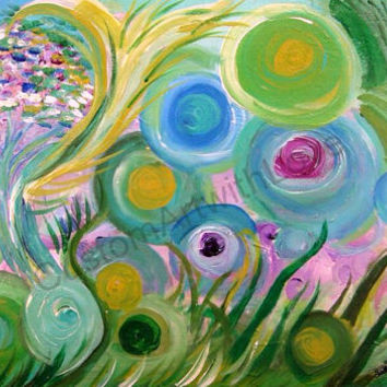 """20 X 16-Abstract Art-Abstract Landscape-Whimsy-Original Art-Canvas with Acrylic paint """" Dream  Forest """""""