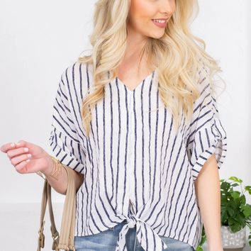 Sierra Front Tie Striped Top