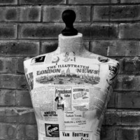 Original 1850's Newspapers and Adverts Decoupaged Mannequin, Body Form, Tailors Dummy Decoupaged Mannequin, Torso, Body Form, Tailors Dummy
