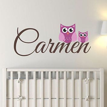 Mom and Baby Owl Custom Name Vinyl Wall Decal Sticker