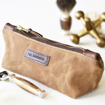 NO. 275 Personalized Zipper Pouch, Brown Waxed Canvas