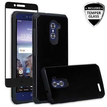ZTE ZMAX Pro Case, ZTE Blade X Max, ZTE Carry, [Include Temper Glass Screen Protector] Slim Hybrid Dual Layer Armor[Shock Absorbent] Case for ZMAX Pro - Black