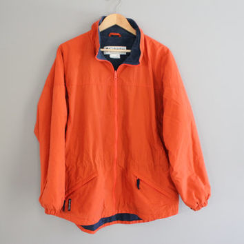 Reversible Columbia Jacket Orange Windbreaker Fleece Jacket Cinched Waist Parka Unisex 90s Vintage Sport Size M - L