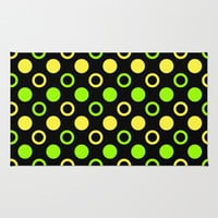 Lemon And Lime Rings And Polka Dots Area & Throw Rug by Inspired By Fashion