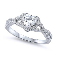 Sterling Silver Rhodium Plated, Heart CZ Solitaire Engagement Ring 8MM, 4