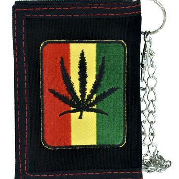 Rastafarian Pot Leaf Tri-fold Wallet with Chain Alternative Clothing Cannabis Marijuana