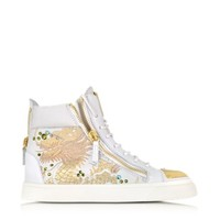 Giuseppe Zanotti Designer Shoes London Vaky Off White Dragon Embroidered and Leather High-Top Sneaker