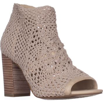 Jessica Simpson Rianne Peep Toe Sandals, Vanilla Cream Stretch Crochet, 5 US