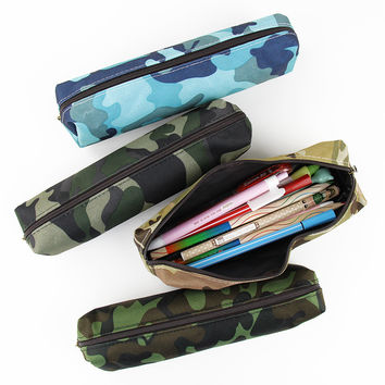 1 Pcs Camouflage Pencil Case for Boys and Girls School Supplies Zipper Pouch 4 Colors Pencil Bag