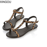 New summer women sandals European fashion simple flat sandals with flat sandals Patent Leather large size shoes women