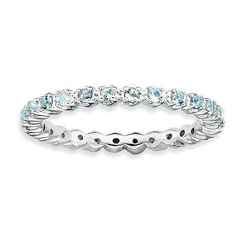 Sterling Silver Stackable Expressions Aquamarine Eternity Ring