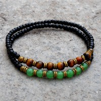 Ebony Mala Bracelets with Aventurine, Tiger's Eye Gemstone and African Trade Beads