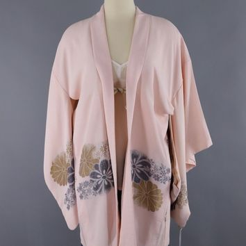 1950s Vintage Silk Kimono Cardigan Jacket / Blush Pink Metallic Floral Embroidery