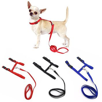 Small Pet Dog Harness And Leash Chihuahua 3 Colors Nylon Adjustable Pet Traction Belt Cat Dog Accessories Halter Dog Collar