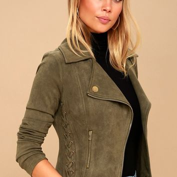 Orson Olive Green Vegan Suede Lace-Up Moto Jacket