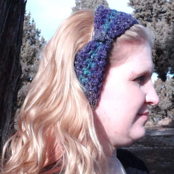 Crochet Headband,Multi Purple-Blues Greens w/MetallicThread Bow Headband,Bulky Warm Wool/Acrylic Blend, Stylist, Cute Free Shipping USA only