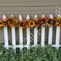 Fall Garland Swag Floral Arrangement Autumn Flowers Deco Mesh Mantle Garland Thanksgiving Decor Gourd Pumpkin Fall Leaves