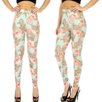 Mint Paisley Floral Print Cotton Blend Leggings in M/L and XL/2X