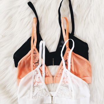 Lace Inset Sport Bralette (Coral, White, Black)